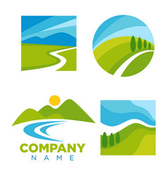 company logotype with cartoon landscape vector image