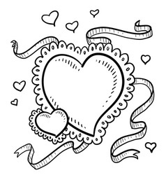 doodle heart fancy vector image
