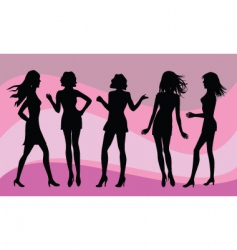 female silhouettes vector image