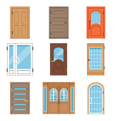 Front doors collection of vintage and modern vector