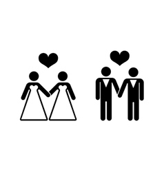 Gay wedding icons over white vector