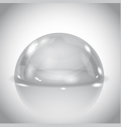 Glass dome shiny transparent semi sphere on gray vector