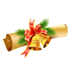 gold christmas bells with red vector image
