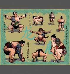 Japanese sumo wrestlers vector