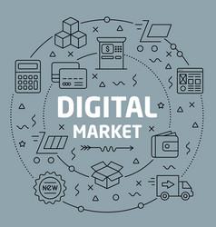 linear digital market vector image