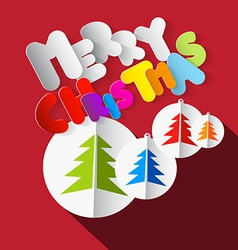 Merry Christmas Colorful Paper Cut Title with Xmas vector image