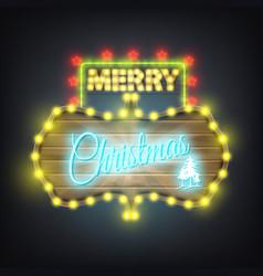 Merry christmas wooden neon billboard vector