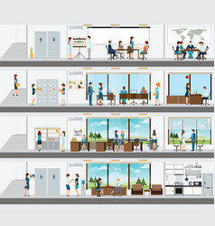 people in the interior of the building vector image vector image