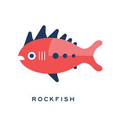 Rockfish sea fish geometric flat style design vector