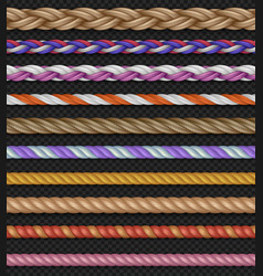 Seamless straight ropes and strings vector