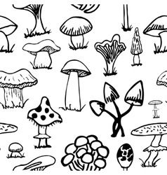Set of silhouettes cute cartoon mushrooms on white vector image vector image
