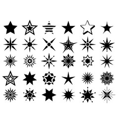Stars shape black signs vector