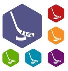 Stick and puck icons set vector