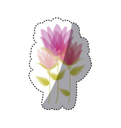 Sticker faded set collection bud flower floral vector