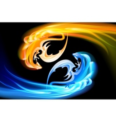 The pair of dragons turning in the sky vector image vector image