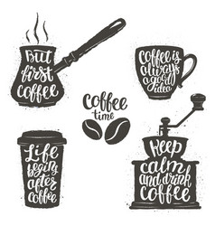 vintage coffee objects set with quotes vector image vector image