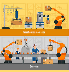 Warehouse automation banners set vector