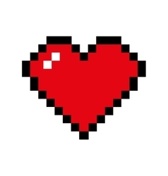 Heart pixel love romatic icon graphic vector