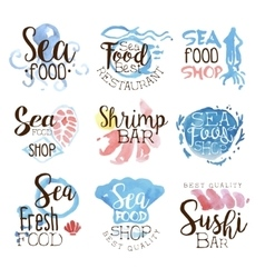 Seafood menu promo signs colorful set vector