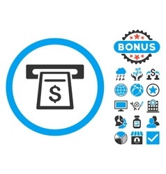 Cash machine flat icon with bonus vector