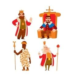Kings cartoon set vector