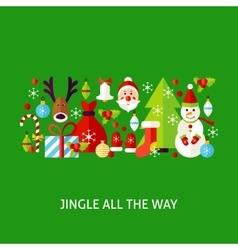 Jingle all the way greeting vector