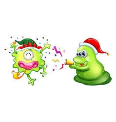 Christmas theme with two aliens in party hats vector