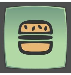 Outline hamburger fast food icon modern vector