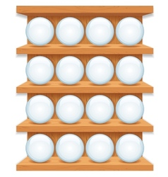 Wooden Shelf with Round Glass Buttons Art vector image