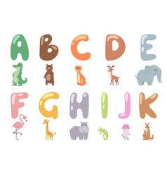 Cute zoo alphabet with cartoon animals isolated on vector