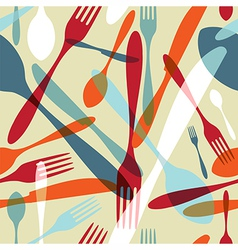 Cutlery transparent silhouette pattern background vector image