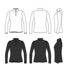 Set of long sleeved t-shirt with zipper vector