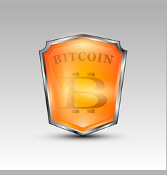 Bitcoin currency red shield vector