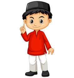 Indonesian boy in red shirt vector