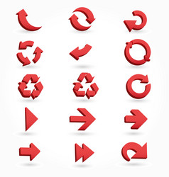 set of red arrow 3d icons vector image