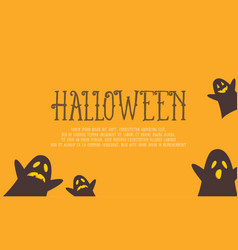 Halloween with ghost on yellow background vector