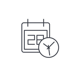 Date and time calendar and clock thin line icon vector