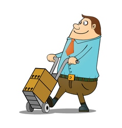 Man pushing cart vector