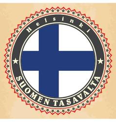 Vintage label cards of finland flag vector