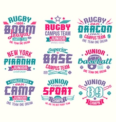 Baseball and rugby college team sport emblems vector