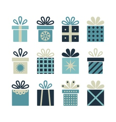 Set of flat gift packages christmas gifts vector
