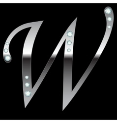 Silver metallic letter w vector