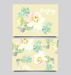 Decorative card flowers painted in watercolor hand vector