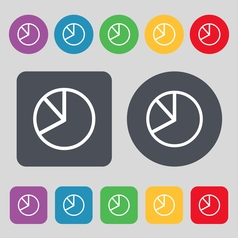 Pie chart graph icon sign a set of 12 colored vector