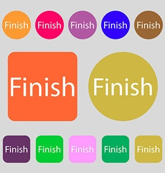 Finish sign icon power button 12 colored buttons vector