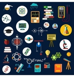 Flat physics science equipment and symbols vector