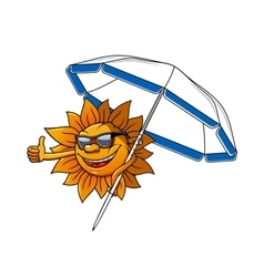 Cartoon sun character with umbrella vector