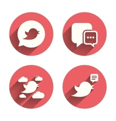 Birds icons social media speech bubble vector