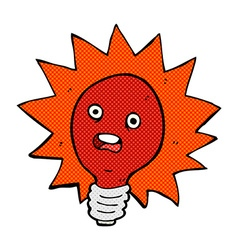 Comic cartoon red lightbulb vector