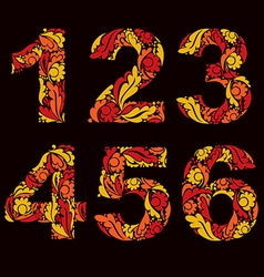 Beautiful floral numbers decorative digits with vector image